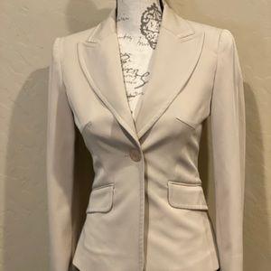 Women's Bebe Cream Beige Polyester Blend Blazer